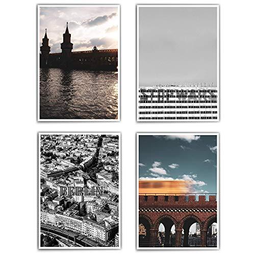 Poster set Wohnzimmer - Berlin – din a4-30x40 cm – 4 Passende Bilder für dein Wohnzimmer/Flur/Zuhause - Poster City - Retro Vintage - Bilder Set Wohnzimmer - ohne Bilderrahmen