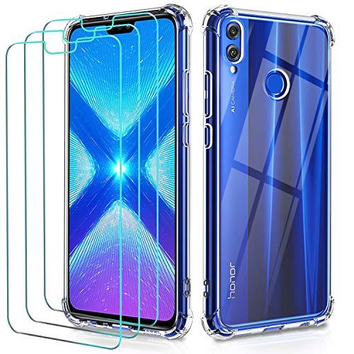 ivoler Funda para Huawei Honor 8X + 3 Unidades Cristal Vidri
