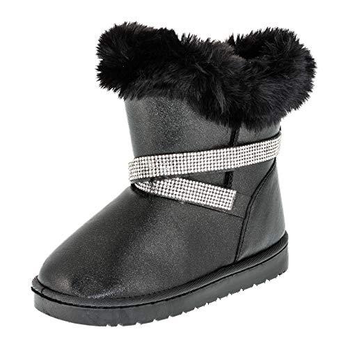 Fashionteam24 Gefütterte Mädchen Stiefel Stiefeletten Winter Schuhe mit Strass und Fell M499sw Schwarz 23 EU