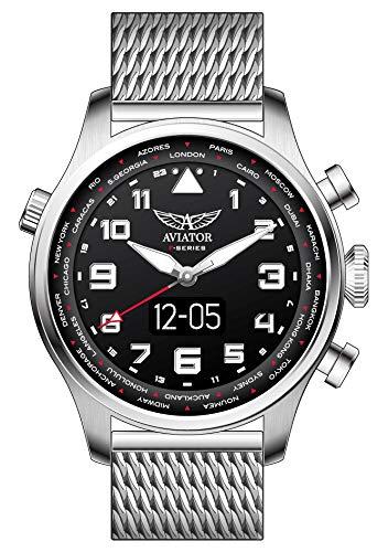 AVIATOR F-Series - Reloj Inteligente para Hombre (Correa de Acero Plateado)