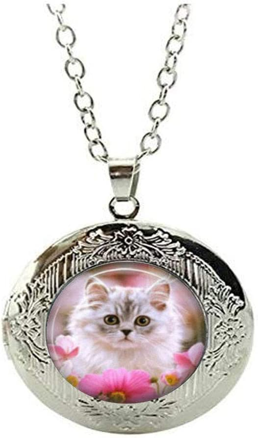 Kitten with Pink Flowers Austin Mall Art C Locket Necklace Photo Jewelry Attention brand