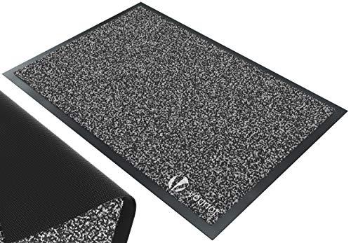 VOUNOT Tapis de Porte Paillasson d'Entree Interieur et Extérieur Tapis Antidérapant et Anti-Poussière Tapis d'entrée Imperméable Lavable 60x90cm Anthracite