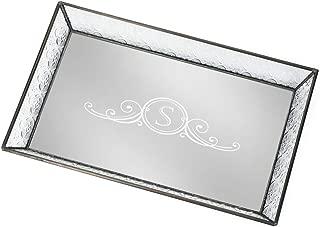 J Devlin Tra 106-1 ET207 Personalized Vintage Glass Jewelry Tray with Mirrored Bottom Monogrammed Decorative Dresser Engraved Vanity Organizer