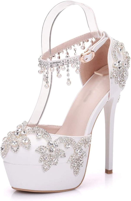 RHYXVB Hochzeitsschuhe Damenschuhe Sandalen Flache Schuhe Rundkopf High Heels Sexy Fransen Strass High Heels Mit Hhe 14 cm Stiletto Pump (Größe   36)