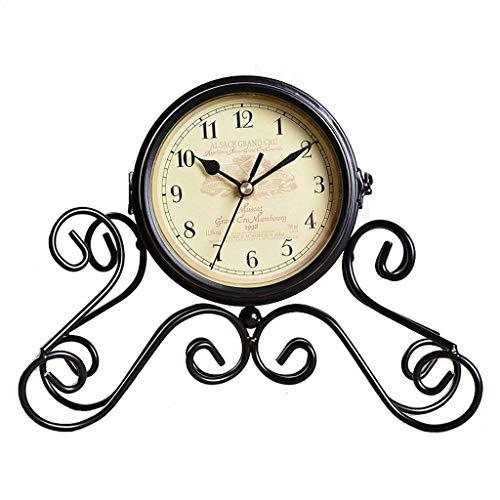 GZQDX Casa Creativa Decoración de Hierro Forjado Relojes y Relojes Relojes de Escritorio Adornos Adornos Porche Crafts Sala de Estar Reloj de Doble Cara Reloj de Escritorio