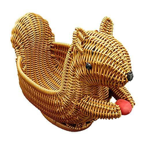 Cabilock Cesta de Animales Creativa Cesta de Mimbre de imitación Caja de Fruta Adorable Caja de Pan Adorable Placa de merienda Duradera para la Tienda de la Sala de Fiestas en el hogar (Tamaño S)