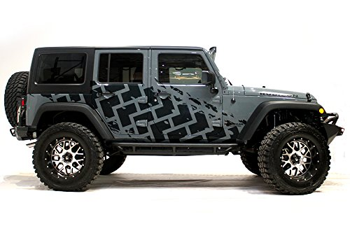 Factory Crafts Tire Tracks Side Graphics Kit 3M Vinyl Decal Wrap Compatible with Jeep Wrangler 4 Door 2007-2016 - Matte Black