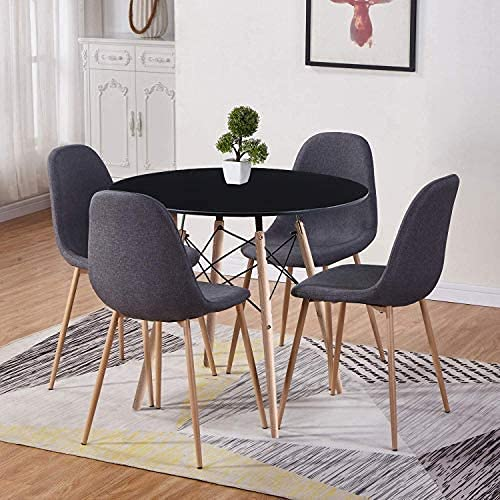 GOLDFAN Dining Table and Chair Set 4 Modern Round Tempered Glass Kitchen Table and Fabric Chairs with Solid Wood Legs Dining Room Set, Black