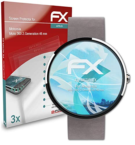 atFoliX Schutzfolie kompatibel mit Motorola Moto 360 2.Generation 46 mm Folie, ultraklare & Flexible FX Bildschirmschutzfolie (3X)
