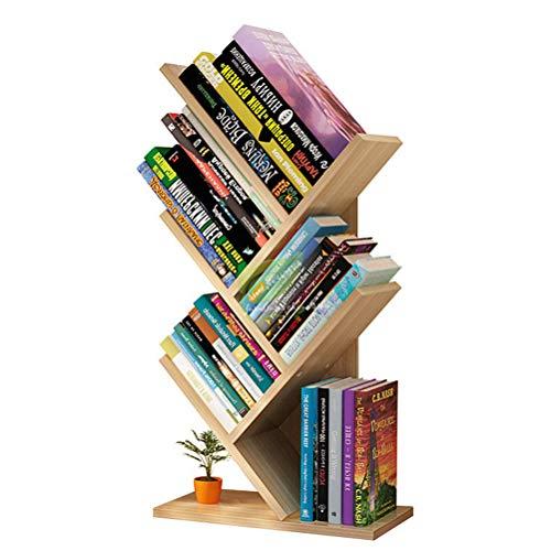 Estantería de madera simple, estante para libros en árbol, mesa de exhibición, estantería para estudiantes, almacenamiento de revistas, estante para libros de múltiples capas para la oficina doméstica