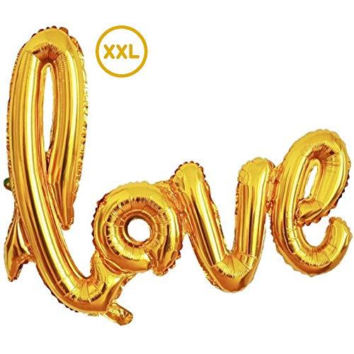 DIWULI, gigantischer XXL Love Luftballon Gold, Love-Schriftzug Folien-Luftballon, Folien-Ballon groß für Geburtstag, Hochzeit, Hochzeits-Party, Dekoration, Überraschung, Accessoires, Liebe Deko
