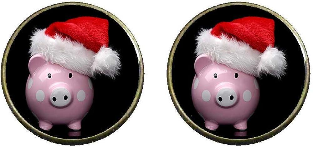 GiftJewelryShop Bronze Retro Style Wearing a Santa Hat pig Photo Clip On Earrings 14mm Diameter