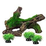 Decorazioni per acquario, piccoli ornamenti, accessori per pesci e nasconde mini artificiali in legno di muschio (tipo A)