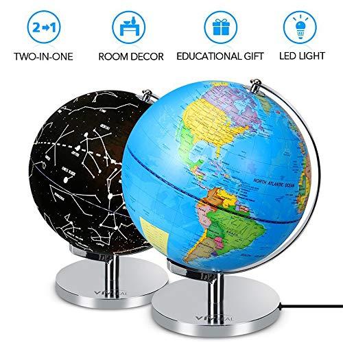 Globo del mundo iluminado 2 en 1 de 8 pulgadas con globo de oficina con soporte educativo Luz LED incorporada con mapa mundial y vista de constelación, globo terráqueo de escritorio interactivo