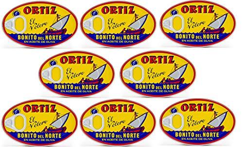 8 Pack Ortiz Bonito Del Norte Tuna in Olive Oil 3.95 Oz Oval Tin (Spain)