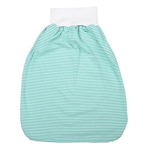TupTam Unisex Baby Strampelsack mit breitem Bund Unwattiert, Farbe: Streifenmuster Grün, Größe: 6-12 Monate