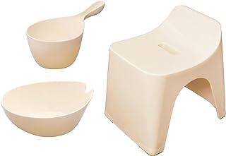 シンカテック ヒューバス お風呂3点セット 風呂椅子30cm&湯おけ&手桶 アイボリー HU-IV