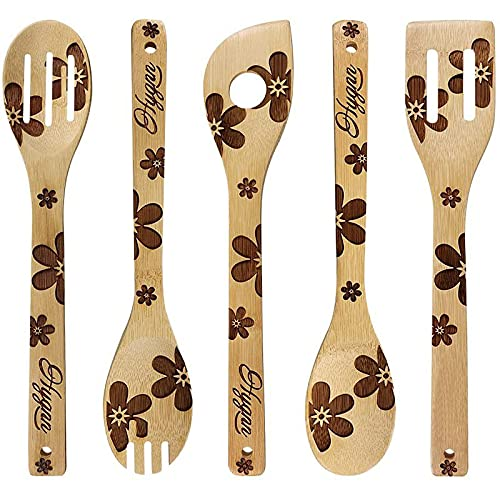 NRRN 3D Burned Wooden Spoons, Relief Pattern Carving Wooden Spatulas Spoons for Cooking, Kitchen Tools