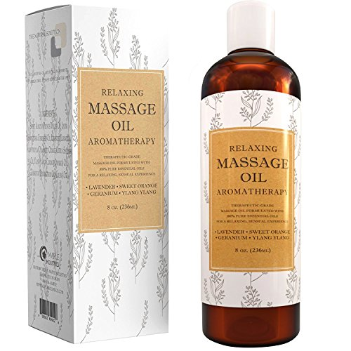 Relaxing Massage Oils for Massage Therapy - Sensual Massage Oil with Aromatherapy Oils for Back Massage and Stress Relief - Anti Aging Body Oil for Foot Massage and Skin Care with Sweet Almond Oil