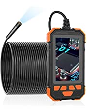Ancocs Cámara endoscópica industrial de inspección con pantalla LCD de 4,3 pulgadas, impermeable, HD 1200P, cámara telescópica de serpiente IP67 con 6 luces LED, cable semirrígido de 5 m