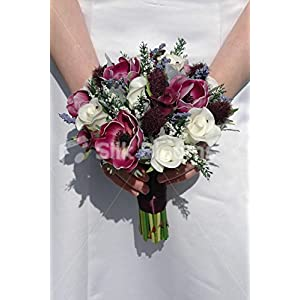 Silk Blooms Ltd Real Touch Plum Anemone Thistle Rose Small Wedding Bouquet
