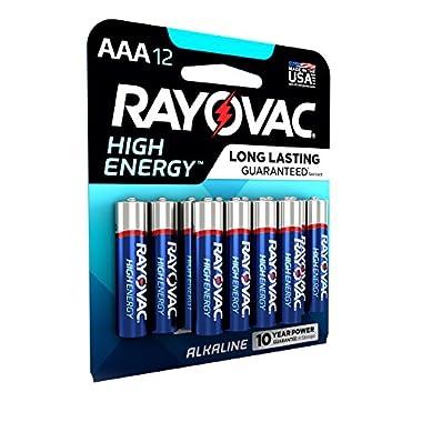RAYOVAC AAA 12-Pack HIGH ENERGY Alkaline Batteries, 824-12K