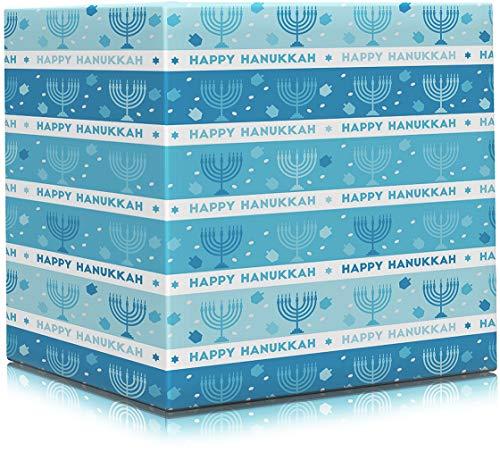 Happy Hanukkah Gift Wrap Chanuka - Rows Design 17.5IN. X 144 in. Each (Pack of 2 Rolls)