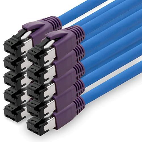 1aTTack.de Cat.8 cat8 kat 8 Ethernet kabel Patchkabel 40GBASE-T - 40000 Mbps (SFTP PIMF LSZH) 40 Gb/s 2000MhZ RJ45 stekkers 1m blue - 10 pieces