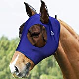 Harrison Howard Super Comfort Horse Fly Mask Elasticity Fly Mask with Ears UV Protection for Horse-Navy Blue