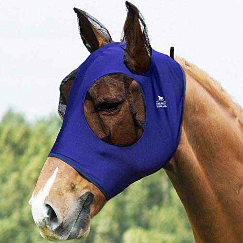 Harrison Howard Comfort Fit Horse Fly Mask Lycra Grip with Soft Mesh Fly Mask with Ears-Navy Blue