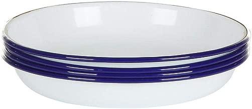 Falconware Enamel Set of 4 Deep Side Plates White with Blue Rim