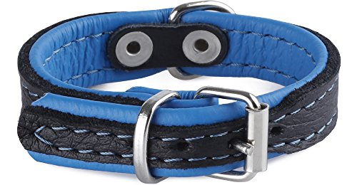 Garronda Hundehalsband aus weichem Elchleder 1566+ (Blau, 20 cm)