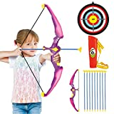 Conthfut Bow and Arrow for Kids with LED Flash Lights - Archery Bow with 9 Suction Cups Arrows, Target, and Quiver, Practice Outdoor Toys for Children Above 3-12 Years Old (Pink(New))