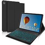 Funda Teclado Español Ñ para Samsung Galaxy Tab A7 10.4' 2020, JADEMALL Bluetooth Teclado Retroiluminado 7 Color Inalámbrico Desmontable Funda para Samsung Tab A7 2020 10.4 Pulgadas T500/T505/T507