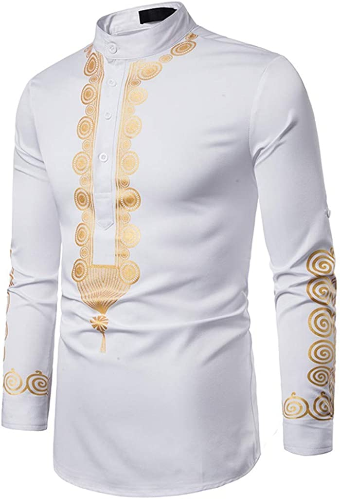 Holzkary Men's Shirt Middle Eastern Style Vintage Printed Tops Casual Long-Sleeve Slim Fit Henley Shirts Jacket