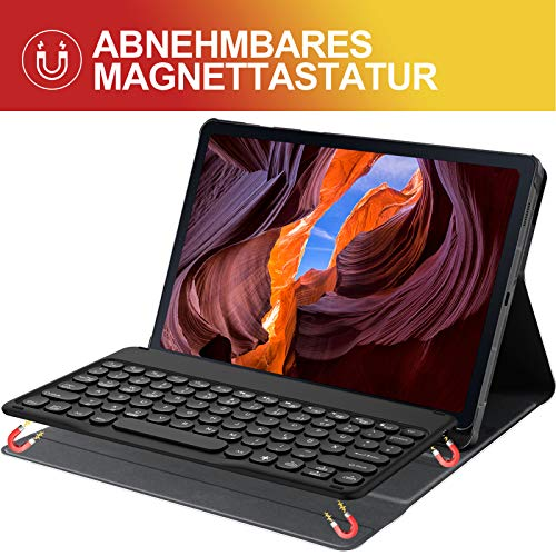 Sross Tastatur für Samsung Galaxy TAB S6 LITE, Galaxy TAB S6 LITE 10.4 Tastatur, Kabellose Bluetooth QWERTZ Samsung Galaxy TAB S6 LITE 10.4 Zoll 2020 SM-P610/P615 Tastatur Hülle mit Panzerglas,Schwarz