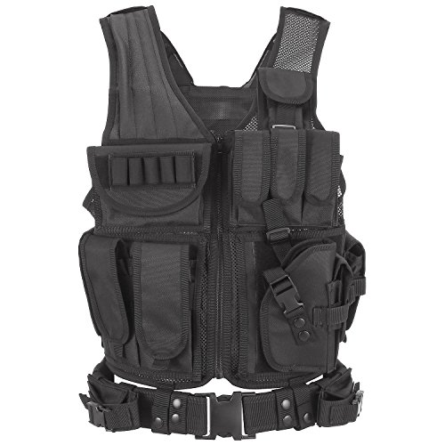 Barbarians Tactical Molle Vest Military Airsoft Paintball Vest Assault Swat Vest Adjustable Lightweight(Black)