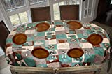 Covers For The Home Deluxe Stitched Edged Flannel Backed Vinyl Drop Tablecloth - Global Coffee Pattern - 54' x 72' - Oval