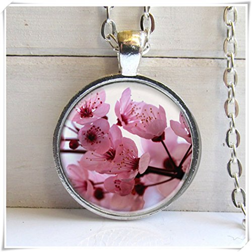 Beautiful Dandelion Hermoso colgante de diente de león, colgante de flores de cerezo, collar de flores rosas