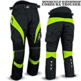 Motorbike Motorcycle Waterproof Cordura Textile Trousers Pants CE Armours (34, Black/Hiviz Green)