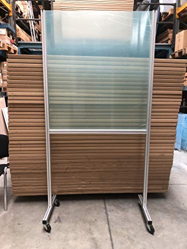 Mobiler Spuckschutz 215 cm/Trennwand für Restaurants und Tische rollbar, Hustenschutz transparent