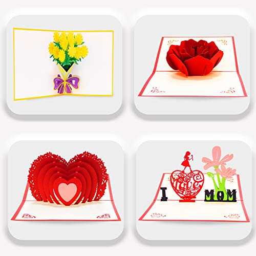 4 Pack 3D Greeting Cards Pop up Card Flower Thank You Card with Envelope for Valentine Christmas Birthday Anniversary Wedding Mother's Day Father's Day Gift