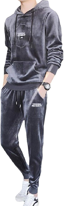 Abetteric Men's Elastic Waist 2 Piece Oversized Hood Pocket Pleuche Sweatsuit Set
