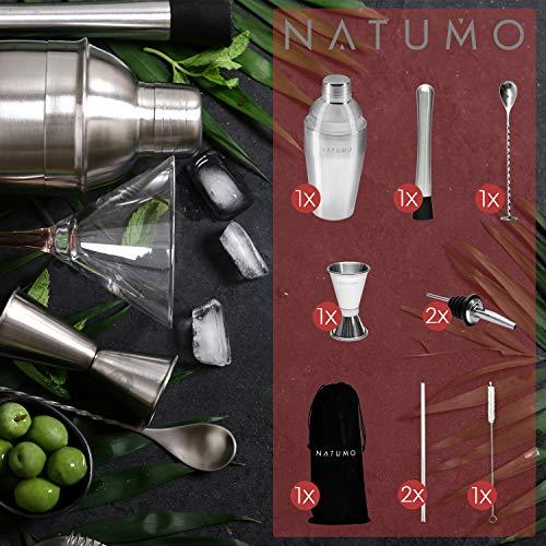 NATUMO ® Cocktail Shaker Set Edelstahl - 10 teiliges Cocktailshaker Set, Cobbler Shaker, Doppel-Messbecher, Stößel, Dosierer, Löffel, Strohhalme - 2