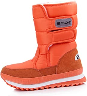 e6345617a9a DETAIWIN Womens Snow Boots Winter Mid-Calf Platform Oxford Fabric  Waterproof Slip On Warm Flats