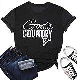 MYHALF God's Country Vintage Tshirt Cute Letter Print Tops Shirt Summer O-Neck Short Sleeve Cowgirl Tees Grey