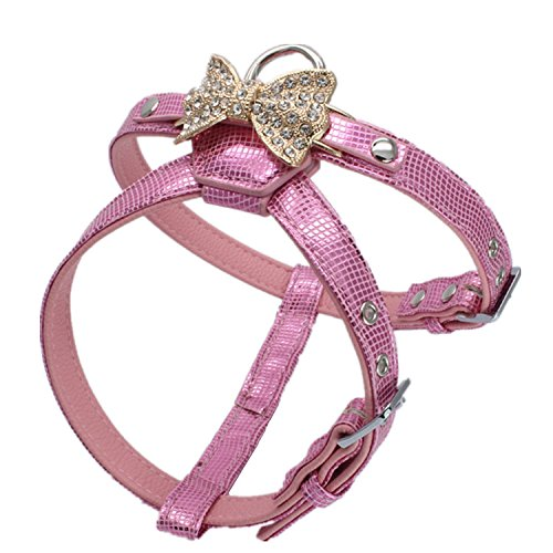 Dogs Kingdom Luxury Leather Rhinestone Butterfly Dog Walking Harness Pink One Size