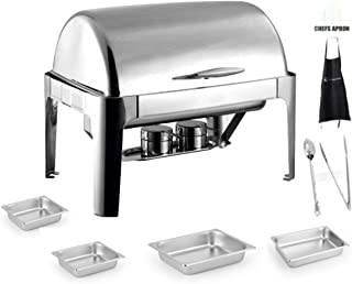 8 Qt Full Size Roll Top Chafing Dish Bundle Stainless Steel - 1 Full Size and 2 Half Size Food Pans 1 Water Pan, 1 Tung and 1 Serving Spoon - Fuel Holders and Lid + Free Apron,