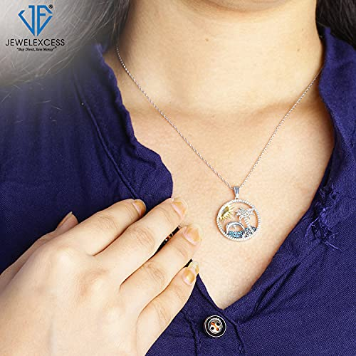 JEWELEXCESS Beach Necklaces for Women Sterling Silver Necklace – 1/3 CTW White and Blue Diamond Necklace for Women – .925 Silver Chain Necklace Pendant – Palm Tree Necklace Birthday Gifts for Women