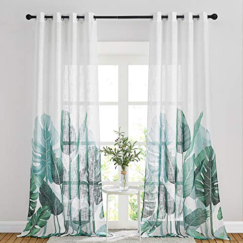 NICETOWN White Sheer Linen Curtains with Green Banana Leaf Pattern, Grommet Natural & Causal Living Room Window Curtains Sweep to Floor Semitransparent Privacy for Hall / Villa, W50 x L95, 1 Pair